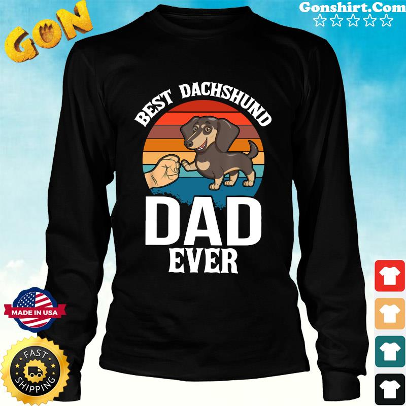 Best Dog Dad Ever Dachshund Retro - Happy Father's Day 2021 Shirt Long Sweater