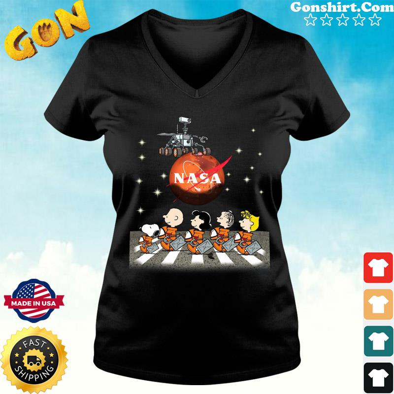 Official NASA With The Peanuts And Snoopy Abbey Road Shirt ladies tee