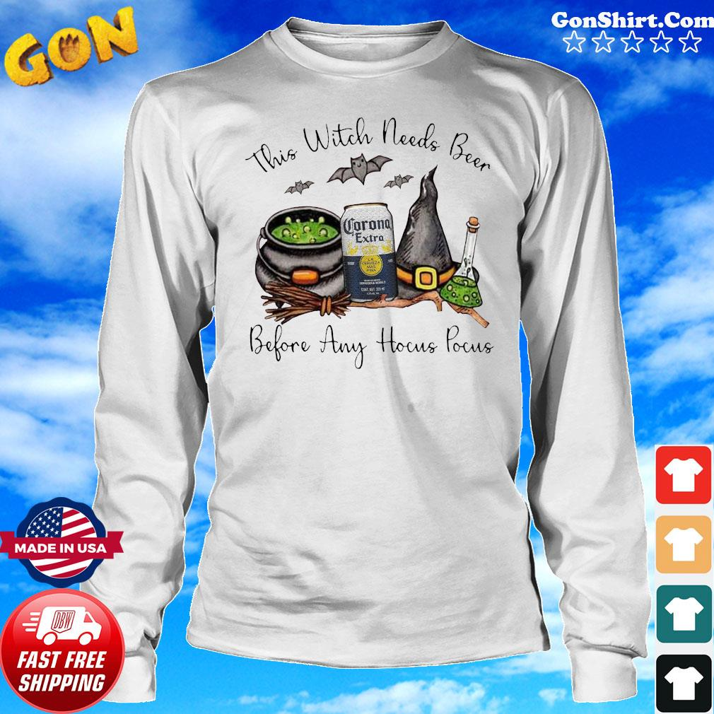 Corona Extra This Witch Needs Beer Before Any Hocus Pocus Shirt Long Sweater