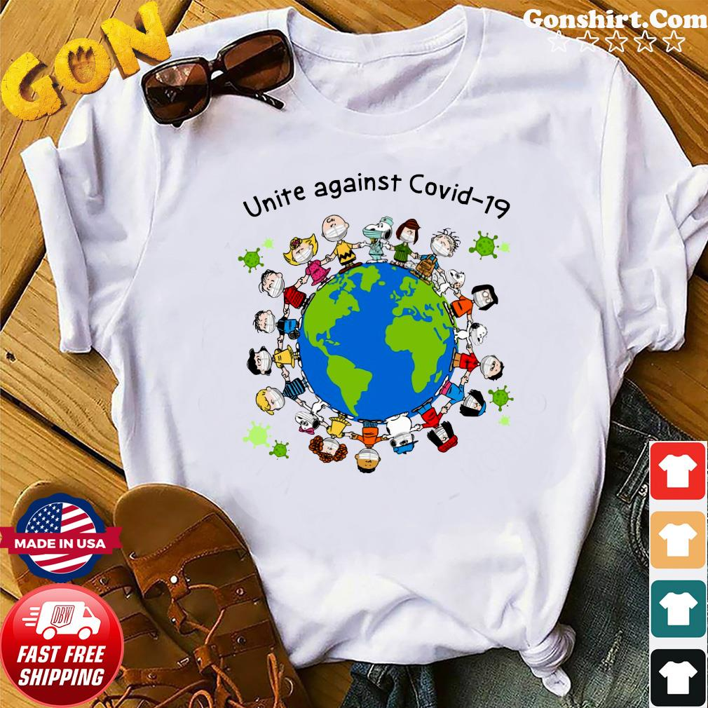 Official Snoopy Peanuts And Charlie Brown Mask Unite Against Covid 19 On The Earth shirt