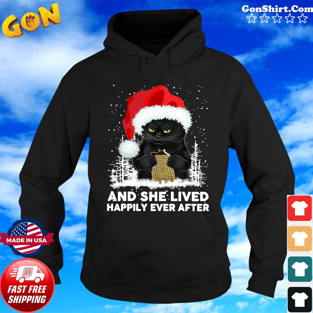 Black Cat And She Lived Happily Ever After Christmas Sweats Hoodie