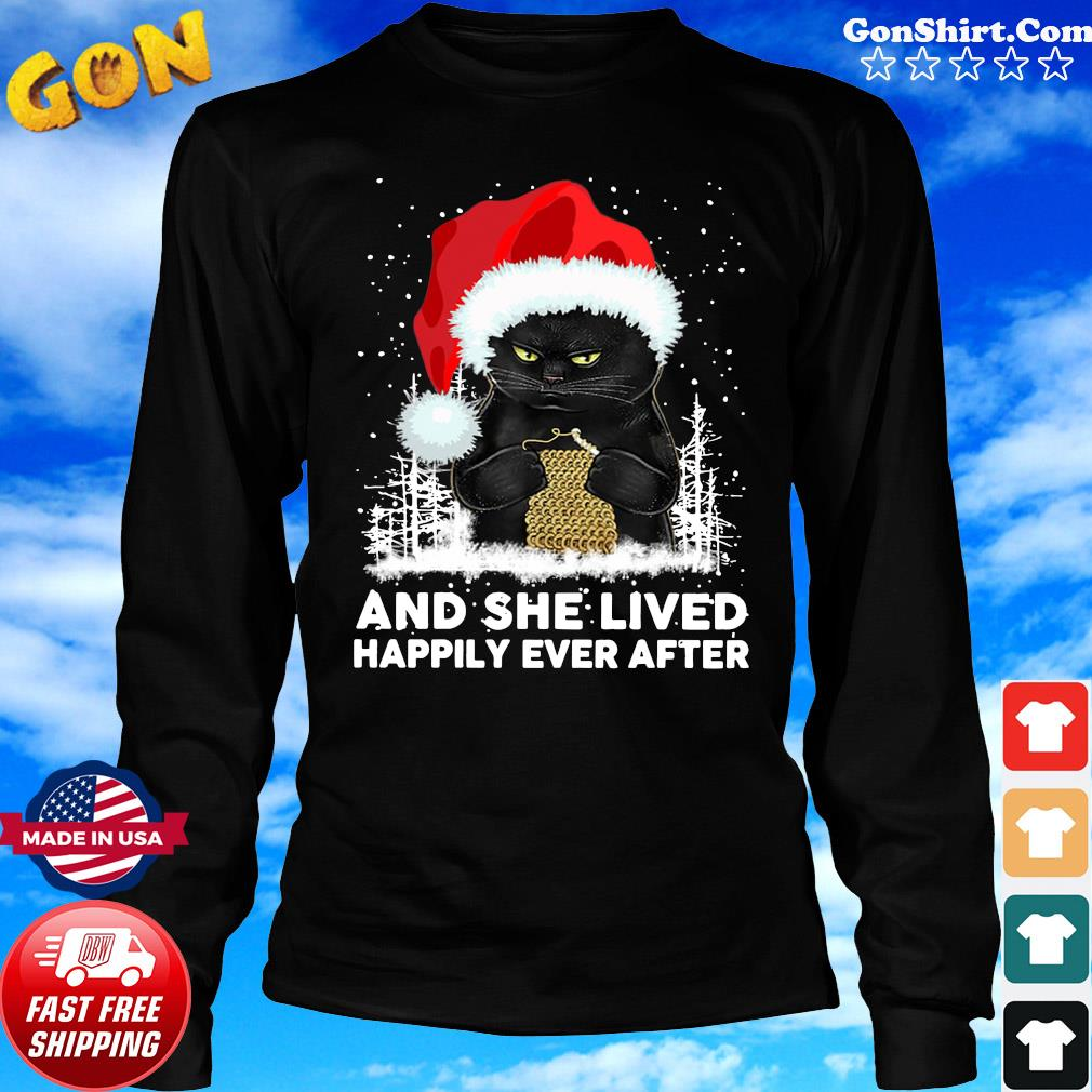 Black Cat And She Lived Happily Ever After Christmas Sweats Long Sweater