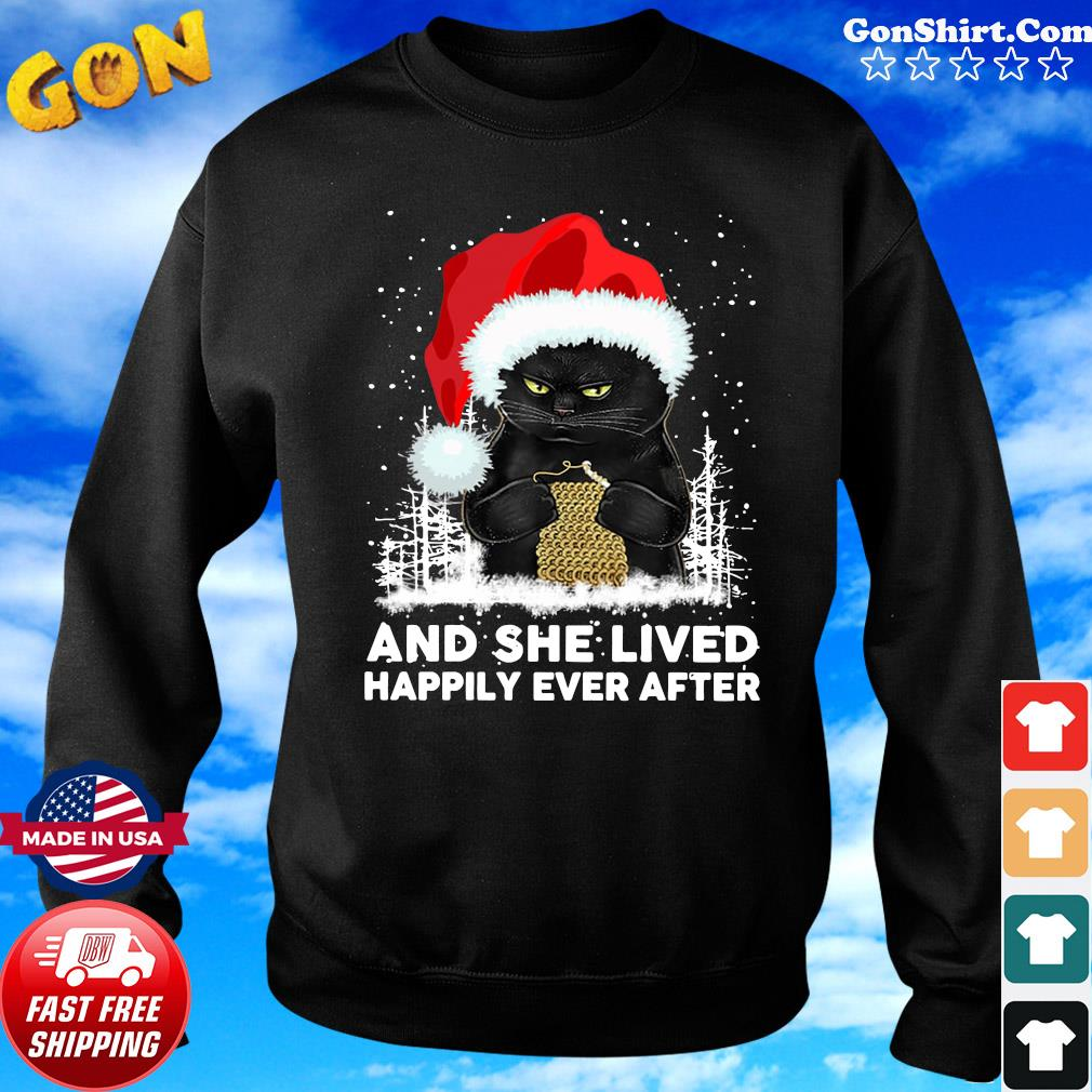 Black Cat And She Lived Happily Ever After Christmas Sweatshirt