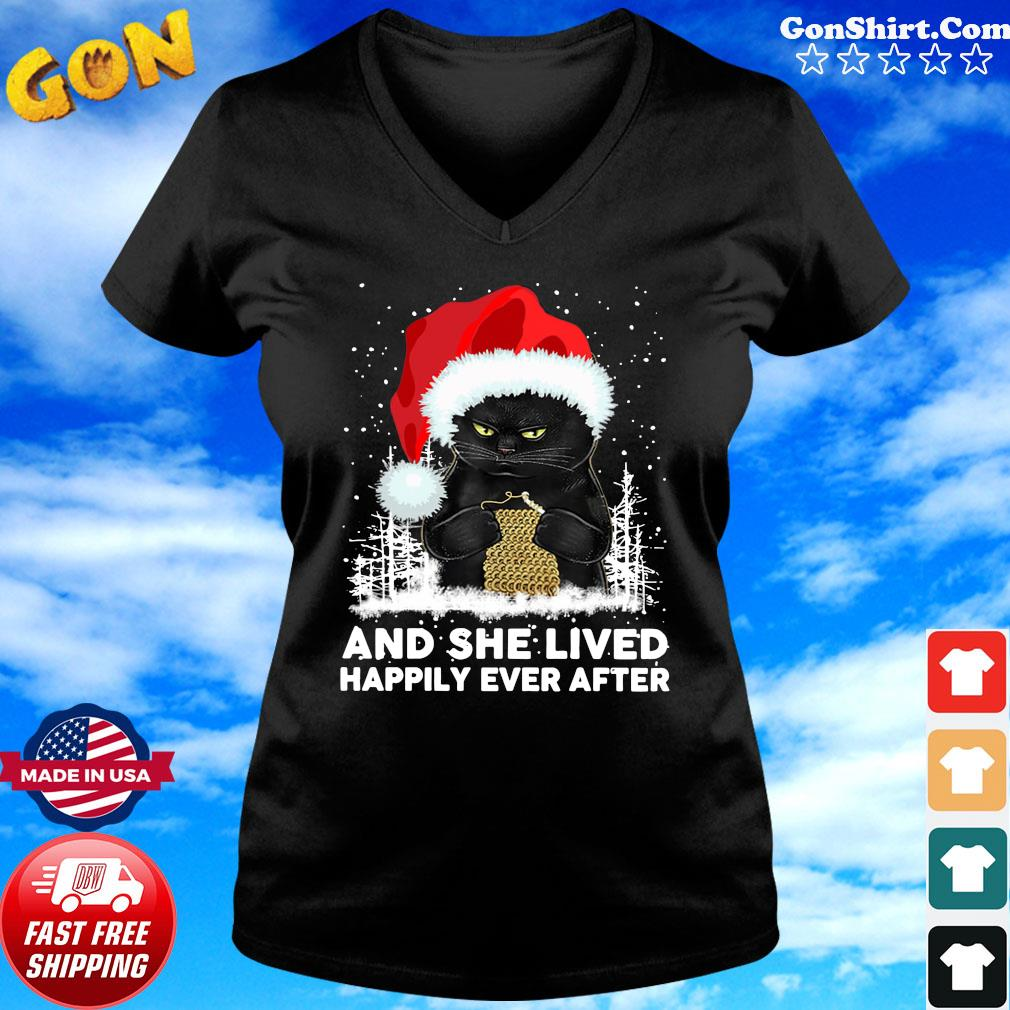 Black Cat And She Lived Happily Ever After Christmas Sweats ladies tee