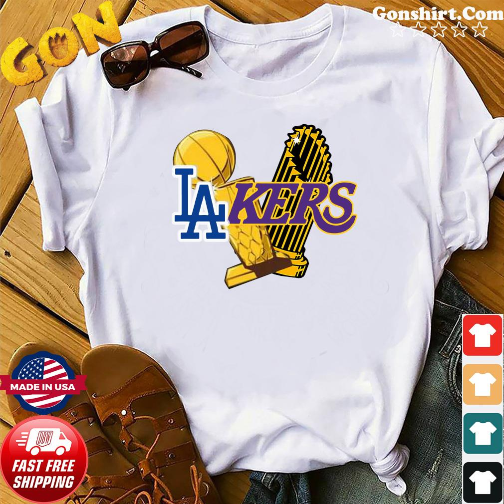 Dodgers Lakers 2020 World Champions Trophies Champions Shirt