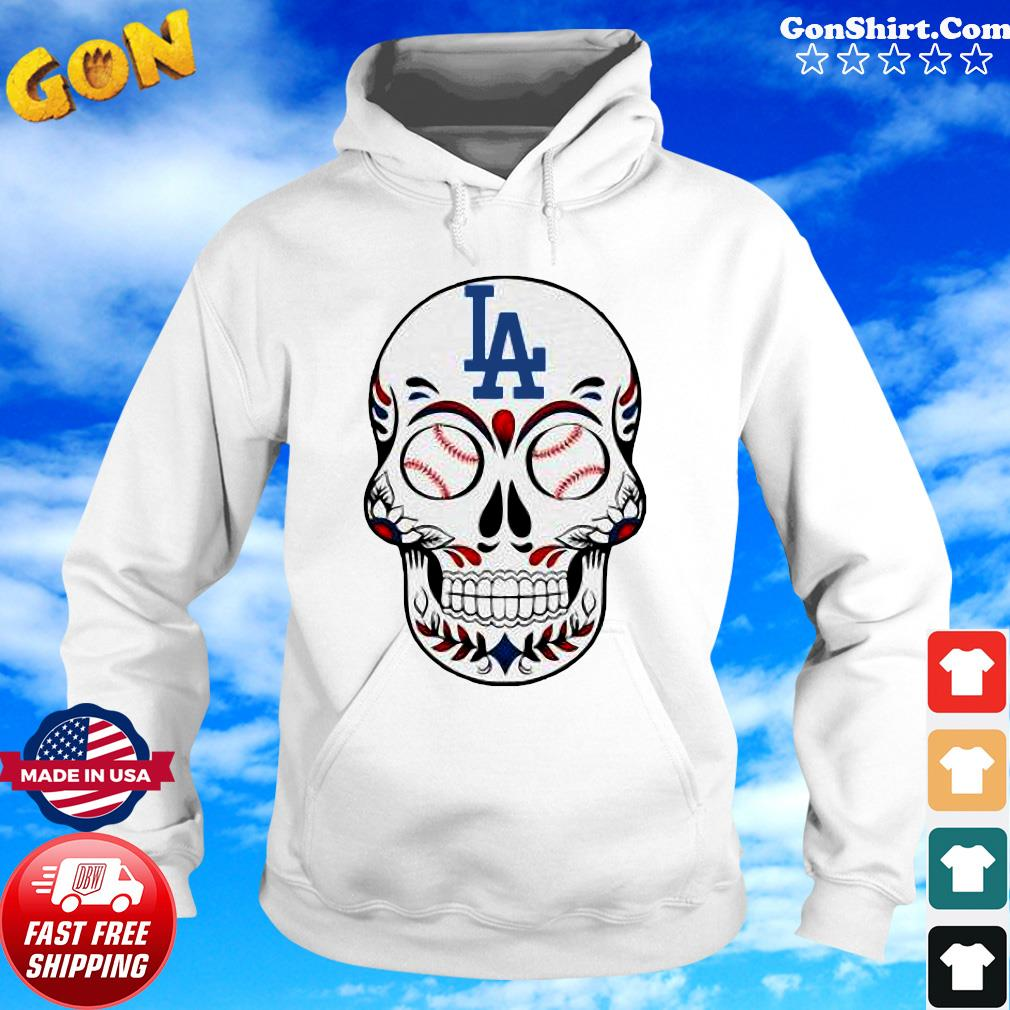 Skull Los Angeles LA Dodgers Logo Baseball Shirt Hoodie