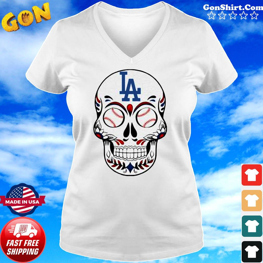 Skull Los Angeles LA Dodgers Logo Baseball Shirt Ladies tee