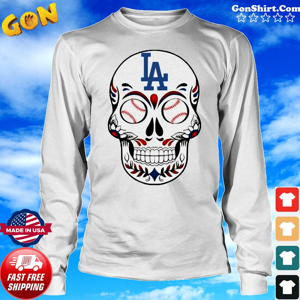 Skull Los Angeles LA Dodgers Logo Baseball Shirt Long Sweater