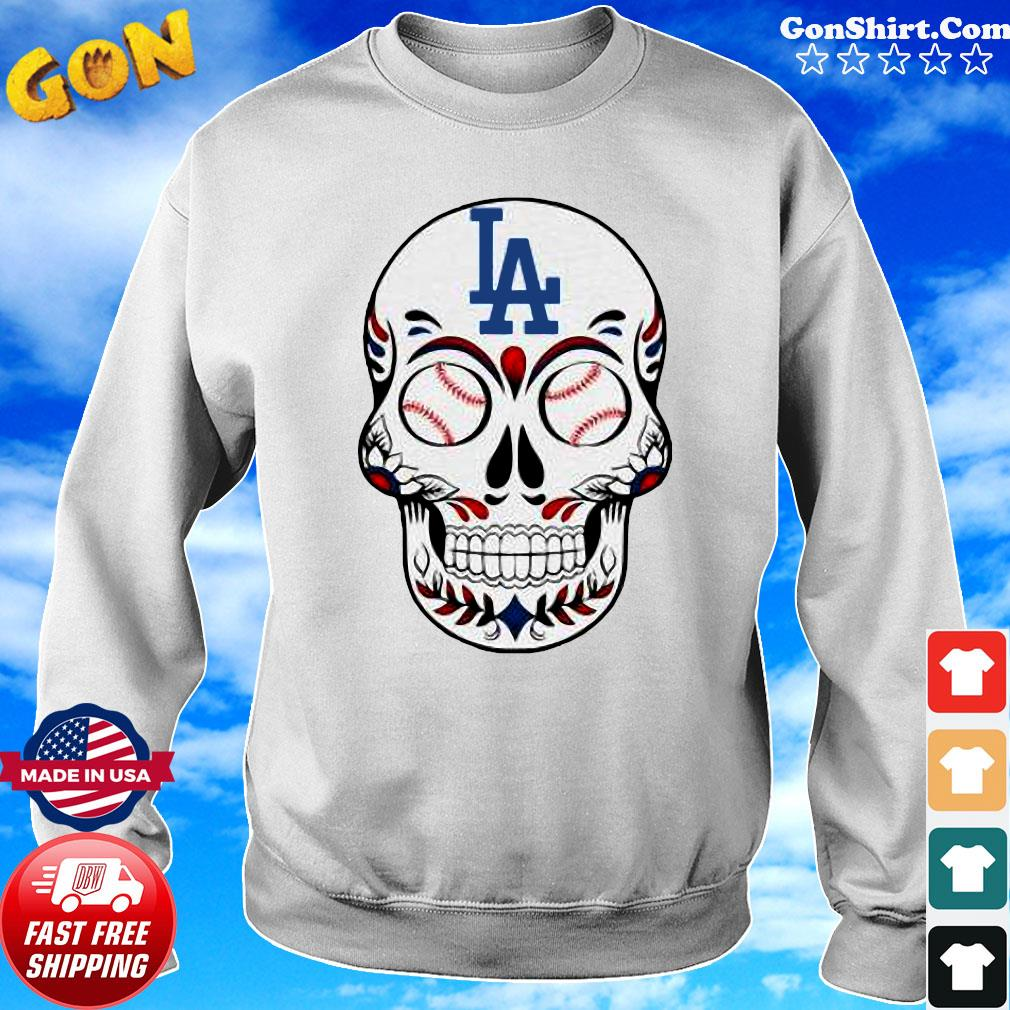 Skull Los Angeles LA Dodgers Logo Baseball Shirt Sweater